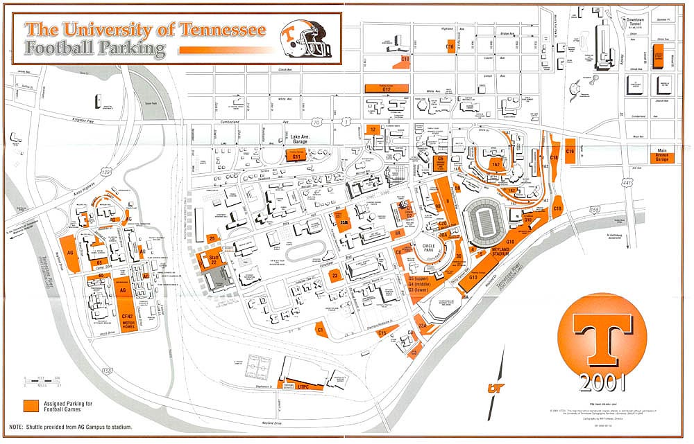 University Of Tennessee Map Tennessee Football Parking Map   University of Tennessee Athletics University Of Tennessee Map