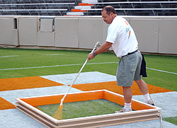 Johnny Payne Paints The Now Famous Checkerboard Endzones Prior To Each Tennessee Home