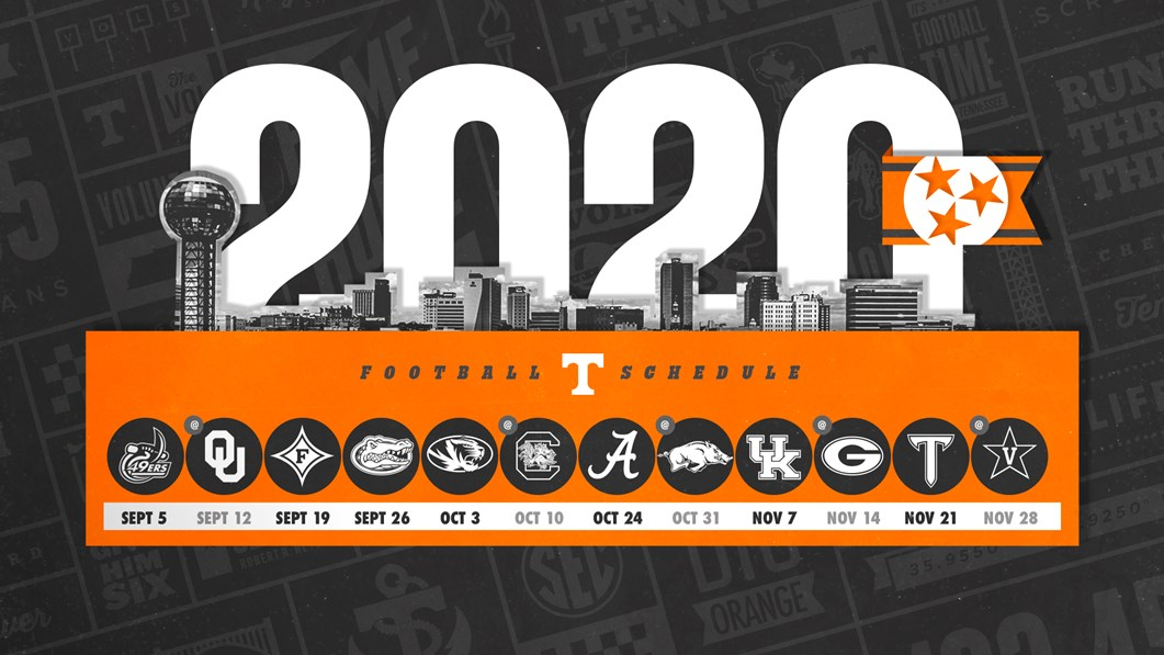 49ers Home Schedule 2020.Tennessee Football Announces 2020 Schedule University Of